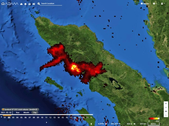 Adam Platform On Twitter Awesome Twin View Of The Sinabung Volcano Eruption In Indonesia 3d From Copernicus Sentinel2 And So2 Emissions From Sentinel5p Today March 2nd 2021 Eruption Culturevolcan Infomitigasi Earthuncuttv Discloser1