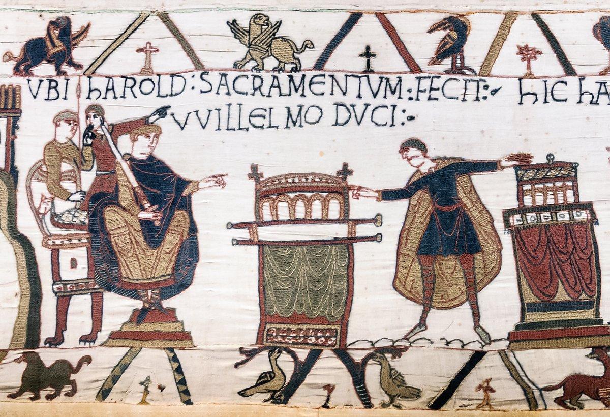 Bayeux Tapestry - Scene 23: Harold swearing oath on holy relics to William, Duke of Normandy. Titulus: UBI HAROLD SACRAMENTUM FECIT WILLELMO DUCI (Where Harold made an oath to Duke William)