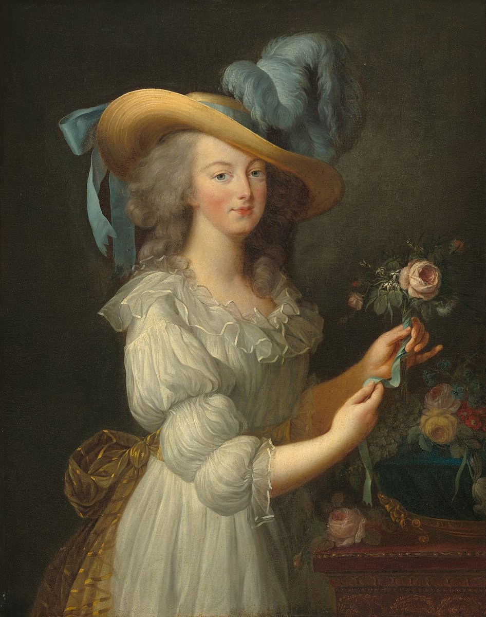 "The autograph 1783 version, Wolfgarten Castle (Germany) - Marie Antoinette in a muslin ""peasant"" dress. Public domain."