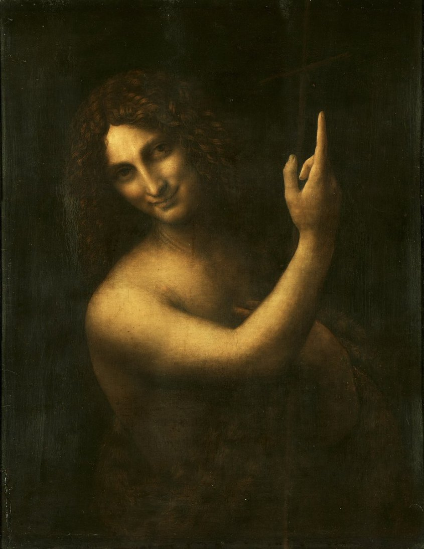 Leonardo da Vinci's St. John the Baptist, pointing up and smiling. If you look you can see the furs draped over his front. Wikimedia commons, public domain.