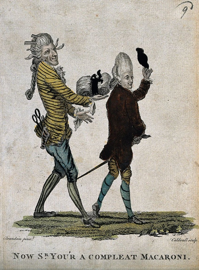 A fashionable man takes his hat off whilst strolling; his hairdresser assists him by supporting the weight of his large wig. The headdresser looks devilish--like a goat. And is wearing all stripes.