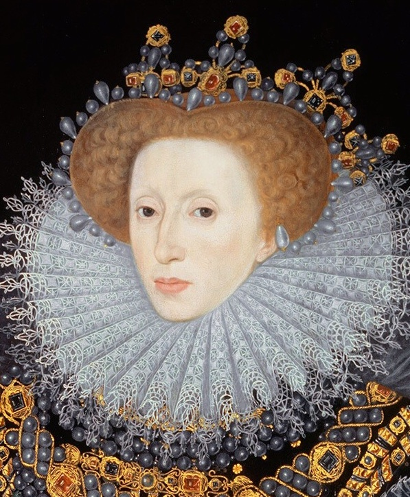 Queen Elizabeth I with an immense, ornately decorated ruff, jeweled crowns covered in pearls. She has no eyebrows, a long nose, full lips, and deep eyes. He chair is a reddish hue.