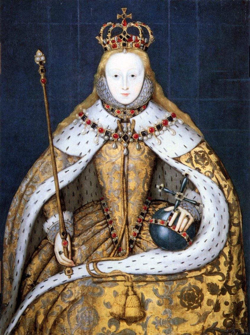 Elizabeth is wearing a dress decorated with Tudor roses and fleur-de-lis. The fleur-de-lis is a reference to the English claim to French soil.Elizabeth has long flowing hair in this portrait, which istraditional for the coronation of a queen.The fabric of her dress is made from woven gold andsilver silk thread. The lining of her robe is ermine, witheach black dot being the tail of one animal.