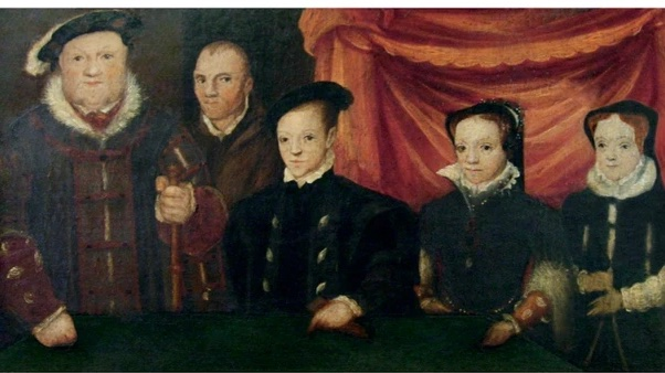 Henry and his three children, who look like little pale adults dressed in dark colors.