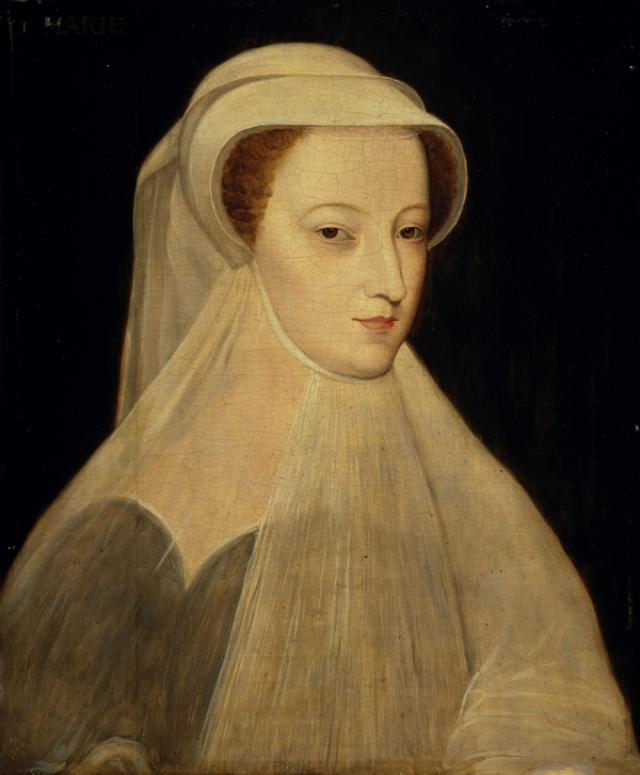 A portrait of Mary Queen of Scots, who was known for her beauty. She is wearing a long veil, and is rather lovely... but also not... unlike many of the other portraits we've seen?