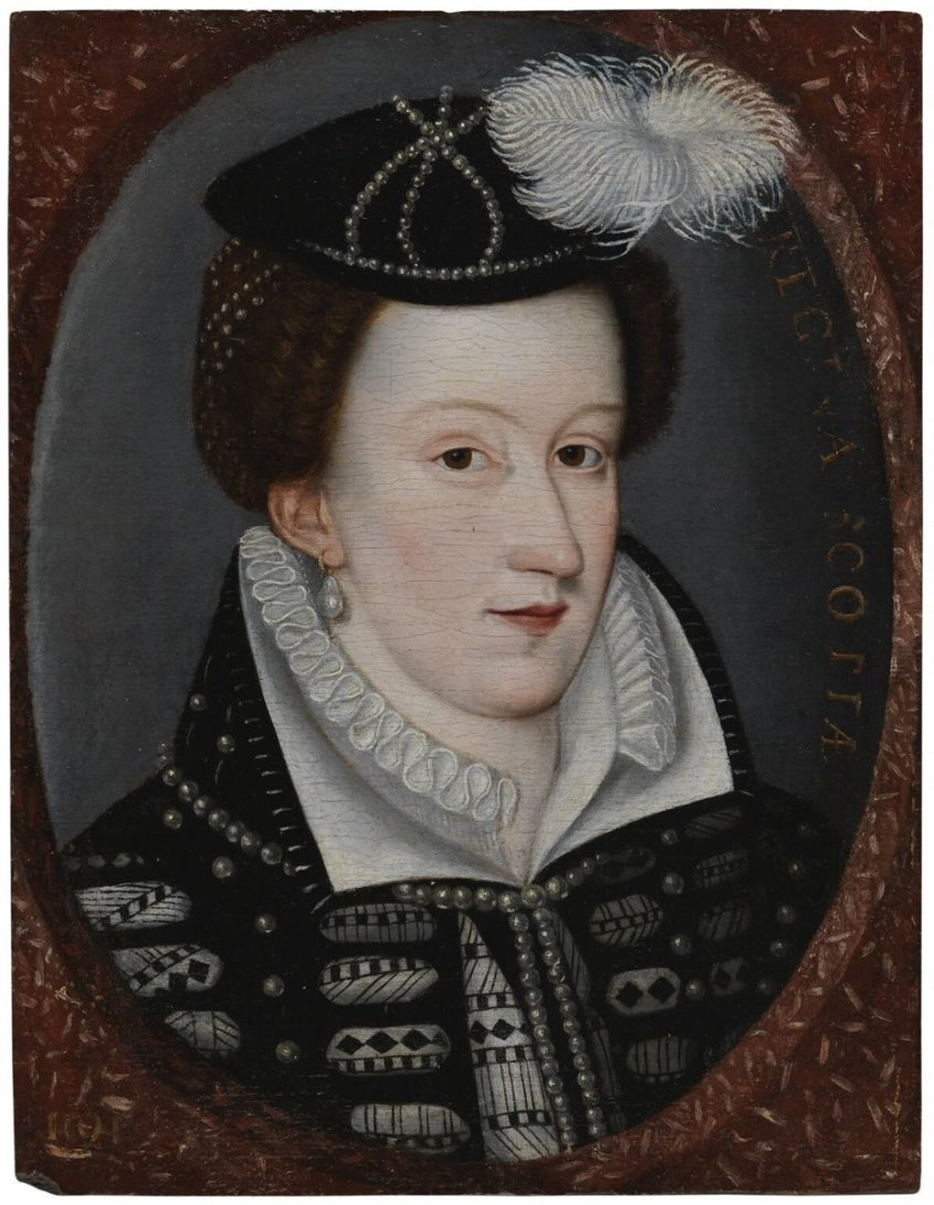 A portrait of Mary Queen of Scots, staring at the painter, with a black and white, embroidered dress, rug, and jaunty hat.