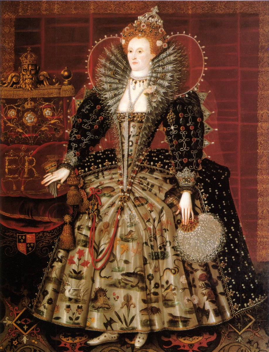 The Hardwick Hall Portrait, the Mask of Youth, Hilliard workshop, c. 1599 - It's hard to describe the level of extra here, but her dress is covered in animal depictions and her ruff is immense. Her hair is piled high. She has a fan? So much is happening.