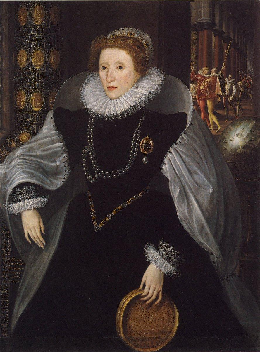 Elizabeth I in black velvet holding a sieve, a symbol of virginity.