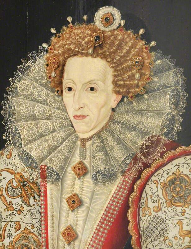 Elizabeth in a ruff, raising an eyebrow, lines clearly on her face, but still arrayed in absolute resplendence.