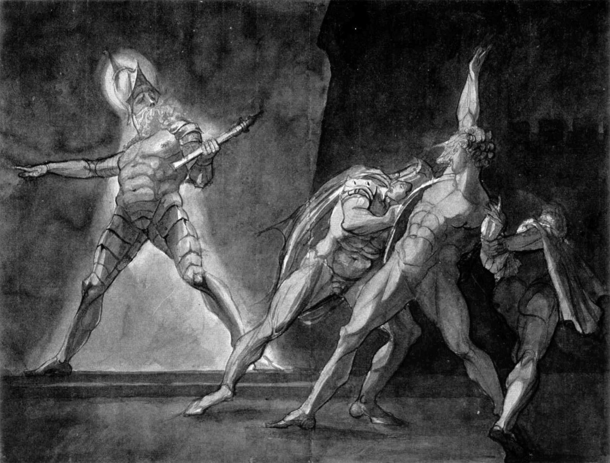 """From Wikipedia: """"Hamlet and his father's ghost"""" by Henry Fuseli (1780s drawing). The ghost is wearing stylised plate armour in 17th-century style, including a morion type helmet and tassets. Depicting ghosts as wearing armour, to suggest a sense of antiquity, was common in Elizabethan theatre."""
