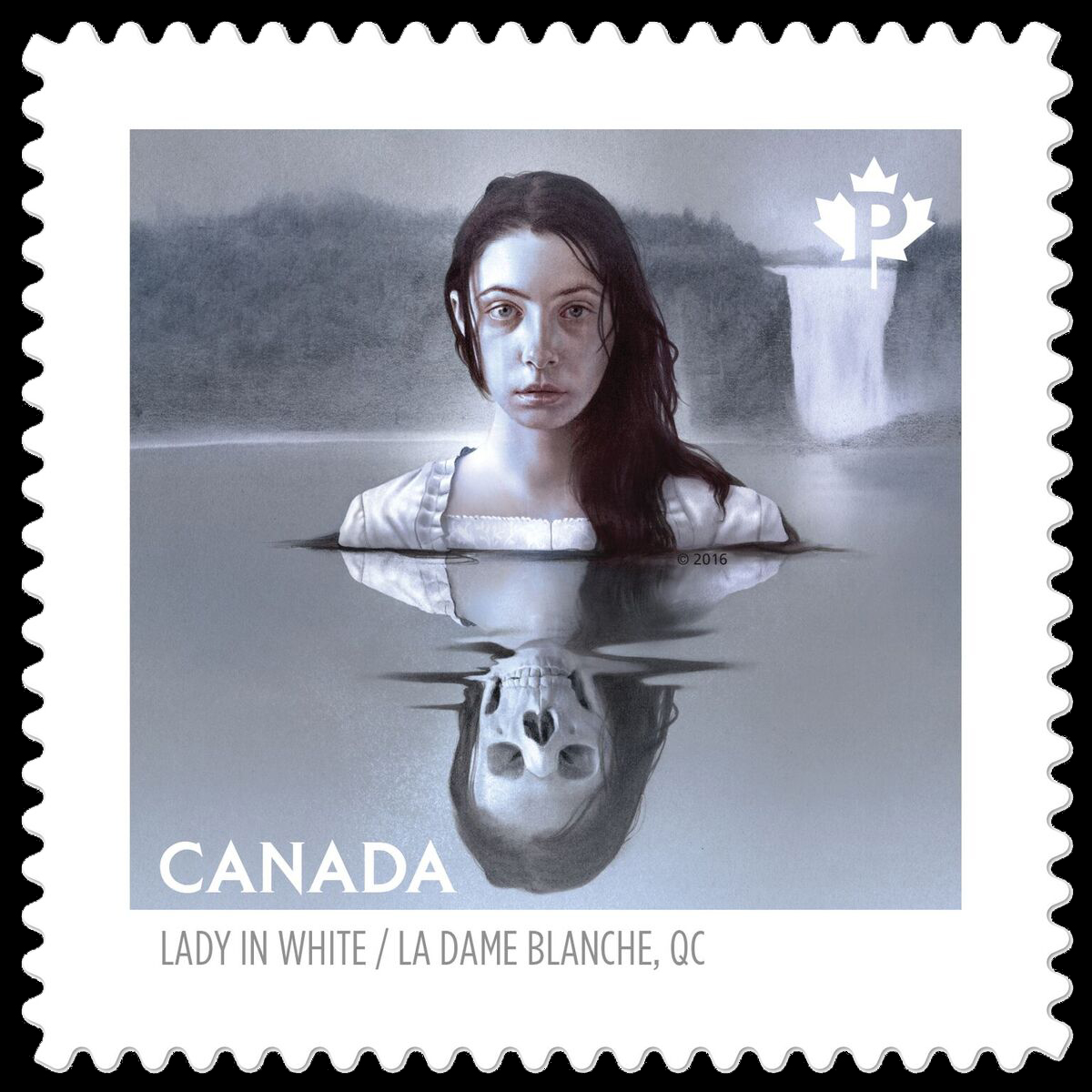 A Canada stamp of Quebec's la dame blanche, a portrait of a woman submerged in water from her bust up, with long black hair. Her reflection is a skeleton. Behind her are the falls.