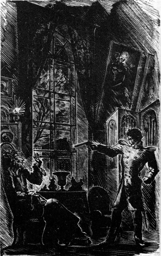 Hermann pointing his gun at the old countess, in a lithograph, dressed in his military attire.