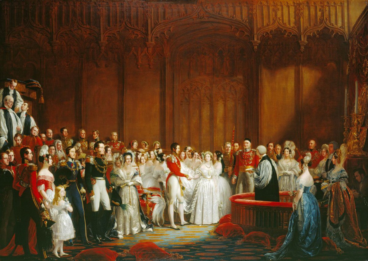 The Marriage of Queen Victoria, 10 February 1840  - A ton of very pale people around Victoria and Albert in Westminster, giving their vows.