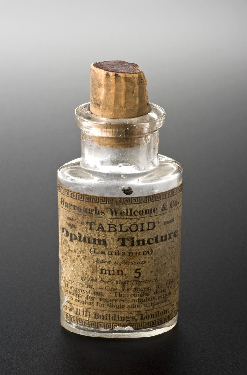 A bottle of laudanum tablets (i.e., in tabloid form). Each tablet contains 5 minims, the equivalent of around 0.3 gram. Usage terms Creative Commons Attribution licence Held by© Wellcome Images and Science Museum, London