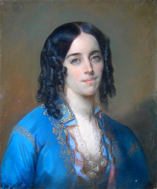 A portrait of George Sand, with bright blue eyes, black ringlets, and blue silk with embroidery.