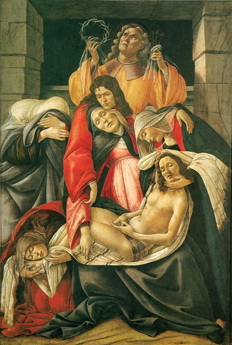 From Wikipedia: The painting depicts the lamentation (expression of great sorrow or deep sadness) [2] over Christ's death. The Virgin Mary sits vertically with the dead Christ on her lap, his body appearing extremely small. The positioning of the two bodies creates the Pieta, which means pity in Italian and is a representation of The Virgin Mary mourning dead Christ.[3] The Three Maries are circling the inner group expressing despair. Mary Magdalen is positioned at the feet of Christ in turmoil. St.John sits above The Virgin Mary and cradles her head in an attempt to soothe her. Joseph of Arimathea stands above the group holding the crown of thorns and three nails. Botticelli paints the figures in contorted and distorted poses. He does not apply the rules of naturalism to the painting. Instead, he focuses on his own personal preference of geometry.[4] This very style of geometry had an influence on third generation renaissance painters to come.
