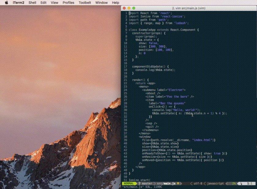 react-ionize: A #ReactJS renderer for building your entire #ElectronJS app  #JavaScript