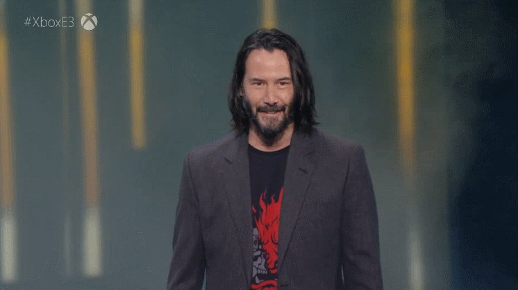 Image for the Tweet beginning: Keanu Reeves announcing the Cyberpunk
