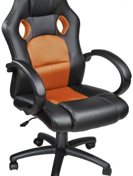 Luxe design bureaustoel racing style oranje zwart 400937