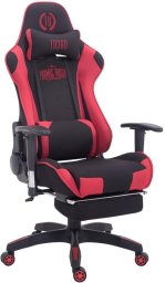 Clp Managerstoel TURBO directiestoel, Gaming chair met voetsteun, hoogte verstelbaar, ergonomisch, belastbaar tot 150 kg, stof - zwart/rood