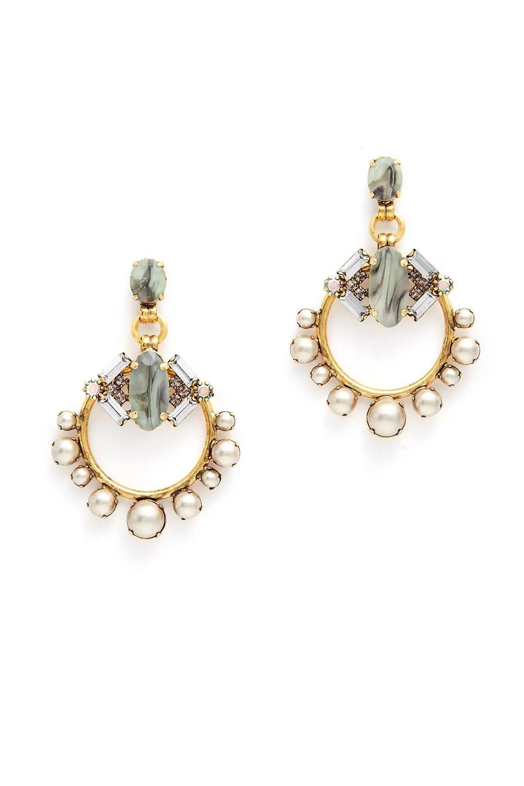 Grey Pearl Hoop Earrings by Elizabeth Cole for $30