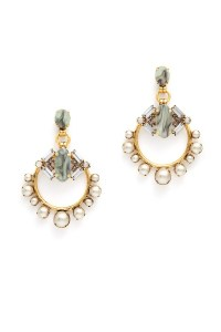 Grey Pearl Hoop Earrings by Elizabeth Cole for $30