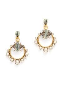 Grey Pearl Hoop Earrings by Elizabeth Cole for $30 | Rent ...