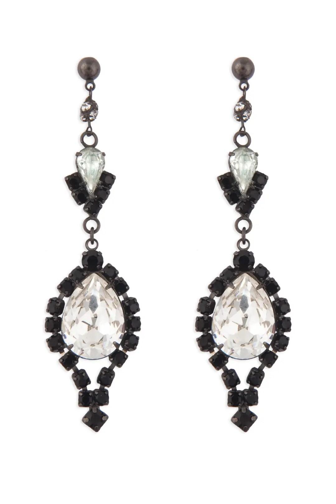 Black and Crystal Chandelier Earrings by Tom Binns for $30