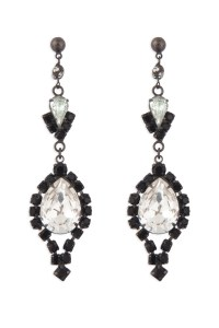 Black and Crystal Chandelier Earrings by Tom Binns for $30