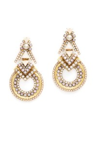 Blush Pave Stone Hoop Earrings by Elizabeth Cole for $45