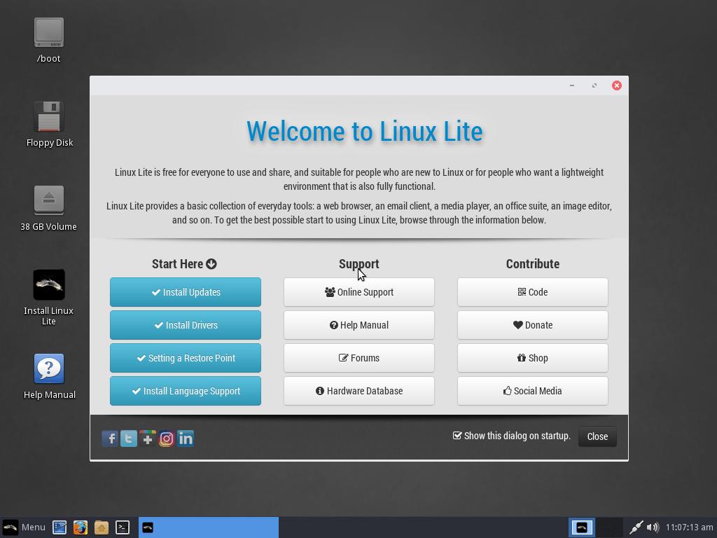 名前の通りライトな Linuxlite