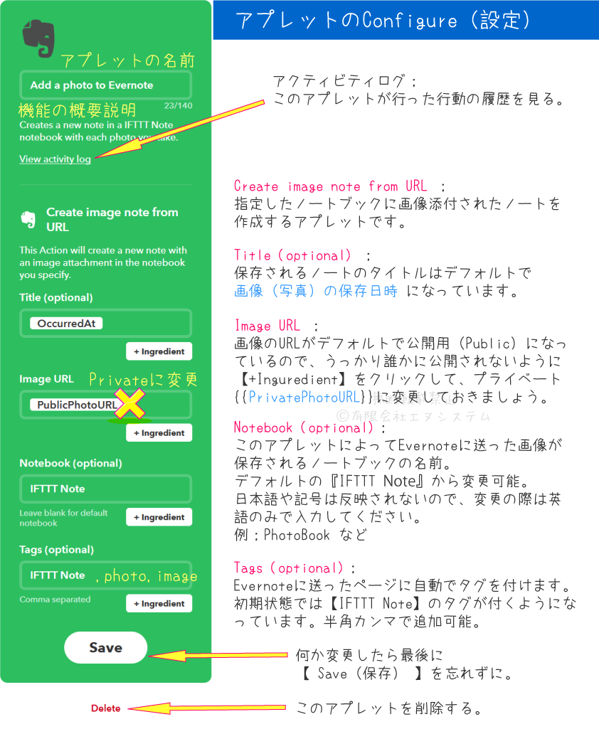 IFTTT;Add a photo to Evernoteコンフィグ設定