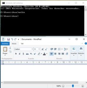 abrir wordpad desde terminal
