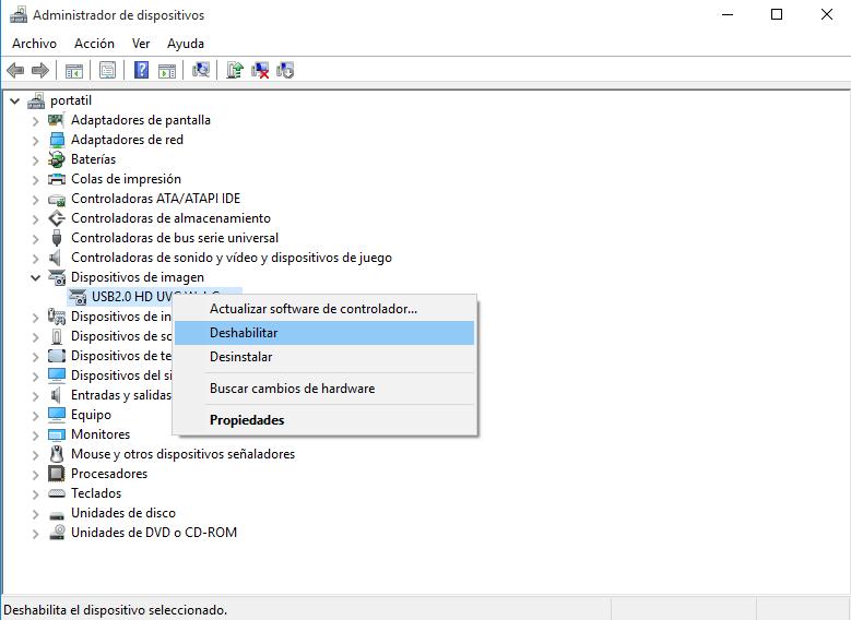 desabilitar webcam windows