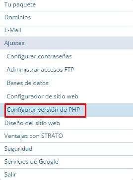 ver que version tenemos de php strato