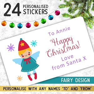 Personalised Christmas Fairy Stickers