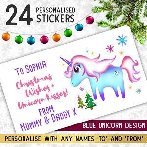 Personalised Unicorn Christmas Stickers