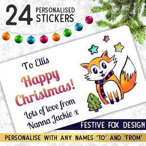 Personalised Festive Fox Christmas Stickers