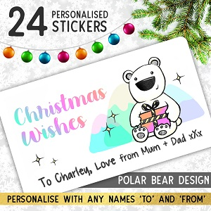 Personalised Polar Bear Christmas Stickers