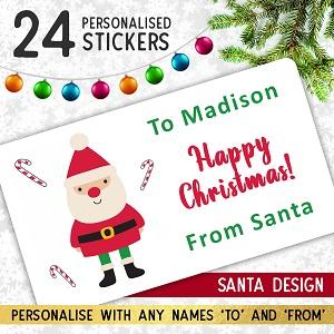 Personalised Santa Christmas Stickers