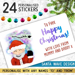 Personalised Santa Waving Christmas Stickers