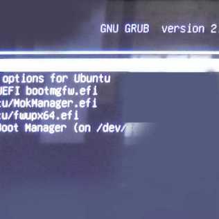 図2:したがって、Grub2が起動する。