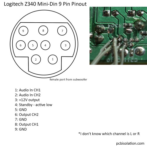small resolution of logitech subwoofer wiring diagram logitech z340 2 1 pinout and reuse ndash pcb isolation