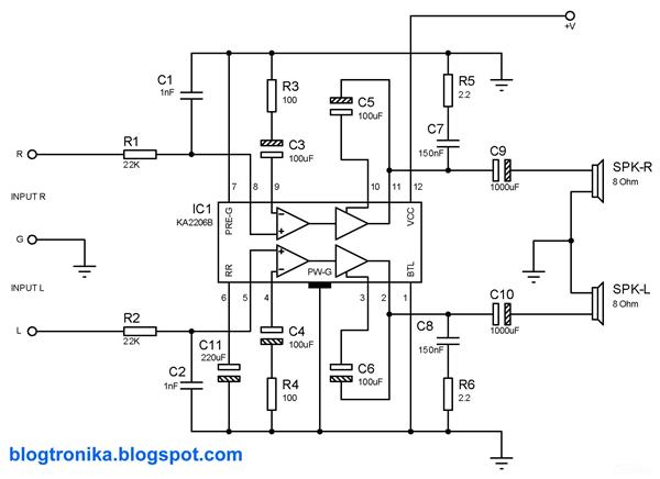 2.3w Stereo Audio Amplifier with KA2206B Integrated