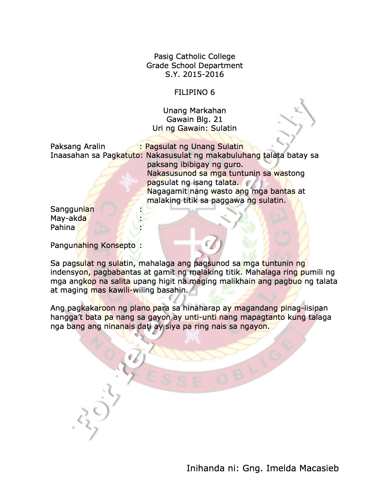 Mga Bantas Worksheet Grade 6