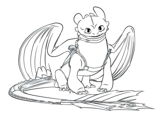 Toothless coloring page - free printable coloring page