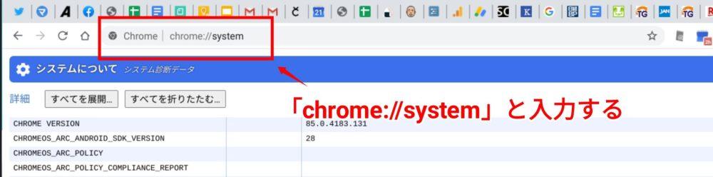 Chromebookでシステム情報を調べる