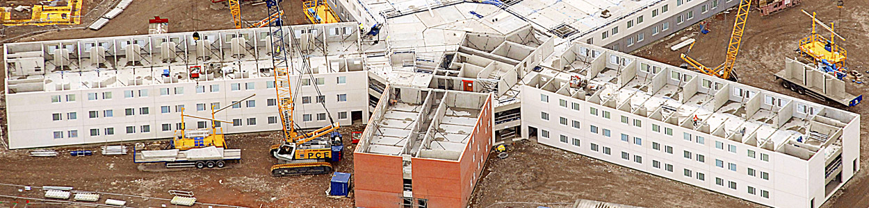 Custodial buildings constructed on site with precast concrete