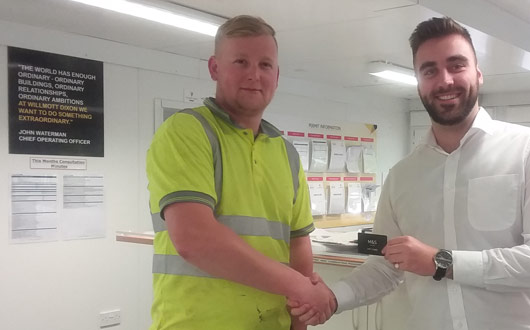 Marcus Beeson of PCE Ltd Willmott Dixon Monthly Quality Award Kingston