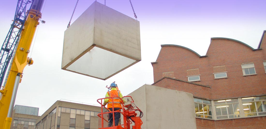 Precast concrete lift shaft for Hartlepool College of Further Education.